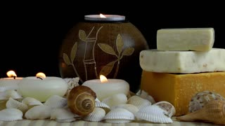 Spa Concept with Seashells and Soaps