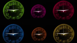Synchronized Neon Colored Clocks