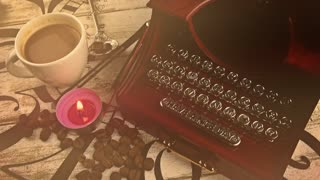Typewriter,cup of coffee and candle on wooden clock-vintage look