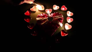 Burning heart candles and heart ornament-Valentines day
