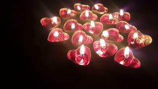 Burning heart candles -Valentines day