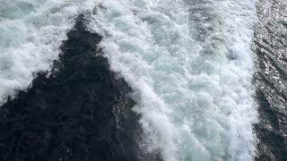 Sea Water Waves Behind Ferryboat