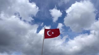 Turkish flag - slow motion waving