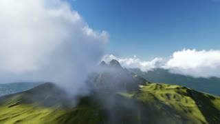 3d animation fly Through the Clouds