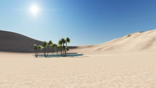 3d animation - oasis in a desert, dark blue clear water surrounded by palm trees and sand dunes in the background