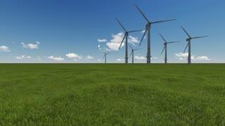 3d animation of Windmills Generators in field