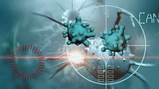 3d animation of cancer cell and word CANCER RESEARCH writing on cancer image background