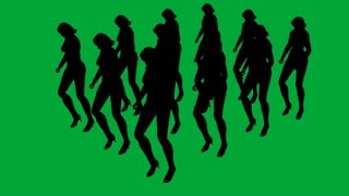3d animation of Group Marching Women - separated on green screen