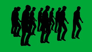 3d animation of many businessman marching - separated on green screen