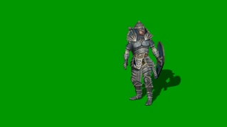 3d animation of medieval knight fighting with swords and shield isolated on green screen