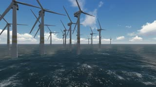 3d animation of wind turbines working at sea and generating clean energy made with 3d  software