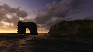 3d animation og big rock in the middle of the sea