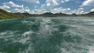 3d animation - rendering of underwater landscape where a camera from the surface of the water goes directly below the dark blue water