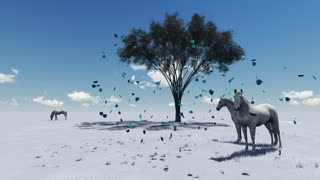 3d animation-scene of Morning Pasture. Horses grazing in a pasture in the morning light