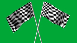 3d  animations of checkered  black and white F1 flags