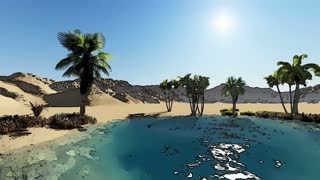 3d rendering animation of Oasis in the desert made with cartoon effect