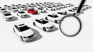 animation - Close up of magnifying glass. Illustration of Hundreds  Cars One Red