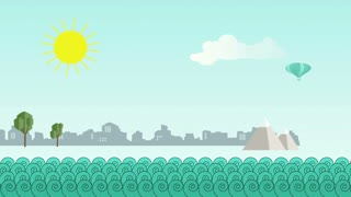 animation - Flat cartoon panoramic city with ocean in front