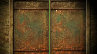 animation - metal door opening to green screen