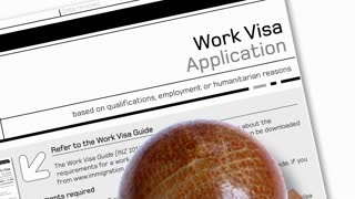 animation of  work visa application document for temporary stay with  Denied stamp