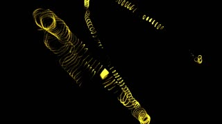 animation of yellow line smooth wave on black background with form particle