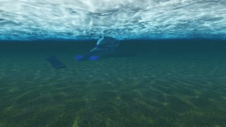 helicopter sinking underwater in the ocean