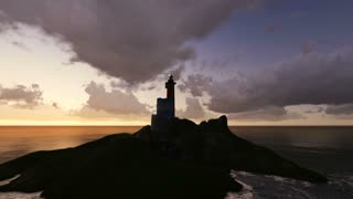 Lighthouse at Night made in 3d software