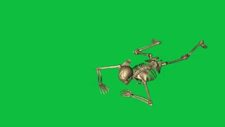 skeleton crawl and  throw grenade   - separate on green screen
