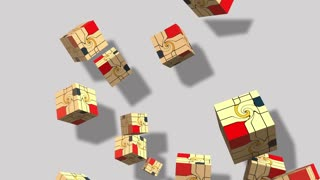 3d animation - Colorful animated cube blocks falling down