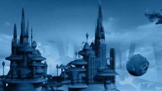 3d animation of city in the future with heat effect