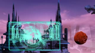 3d animation of city in the future with hud element and spaceship