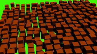 3d animation of fast flight cube on green screen