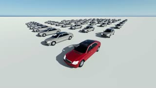 3d animation of hundreds cars, one red