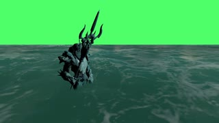 3d animation of Neptune (Poseidon) on the green screen in the see