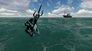 3d animation of Neptune (Poseidon)in the see