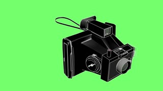 3d animation of polaroid with line stroke on green screen