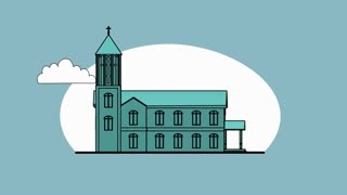 3d animation - render of church in flat cartoon style