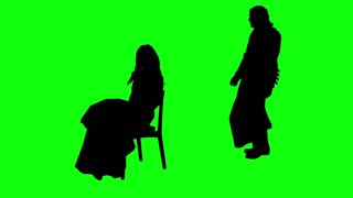 3d rendering animation - silhouettes of people hugging   on green screen