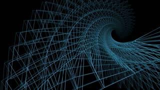 3d rendering - wire frame model of slow spiraling  blue motion graphic design