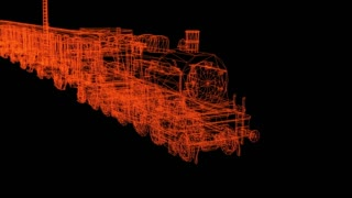 3d rendering - wire frame model of Train Hologram in Motion.