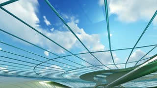 abstract architectural interior with blue smooth glass and steel . 3D animation and rendering