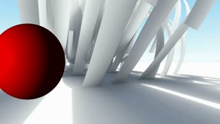 Abstract Architecture. Concept of organic architecture and red ball.3D animation and rendering