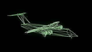 Airplane wire frame   model isolated on black  - 3D Rendering