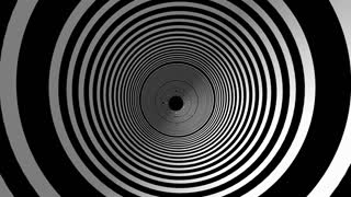 Animated hypnotic tunnel with white and black circles