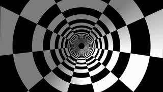 Animated hypnotic tunnel with white and black squares.