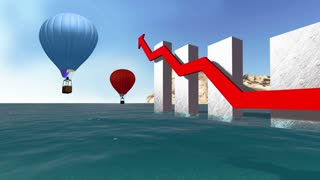 animation of 3d rendering Stock market  business Graph with hot balloon