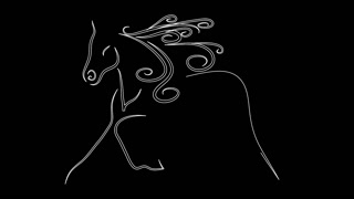 animation of horse draw with continuous line on black screen