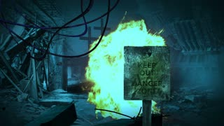 animation of sign Danger zone  - Post apocalyptic scene