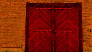 animation - red  wooden door opening to green screen