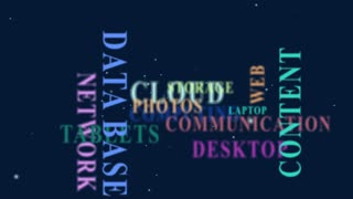 Animation showing words and phrases related to cloud computing.